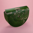 Large Green Bamboo Half Moon Bag