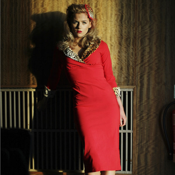 1950's Style Leopard Collar Pencil Dress Dollydagger Greta Red 3