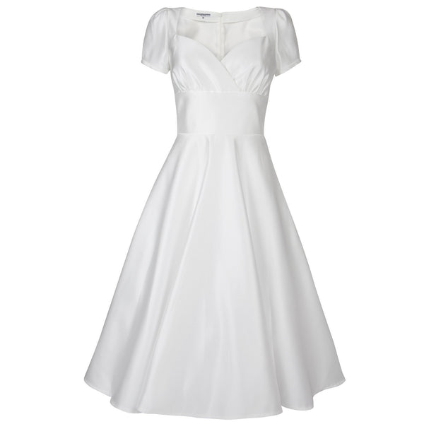 1950s Style Wedding Dress Dollydagger Vivien Porcelain White Satin