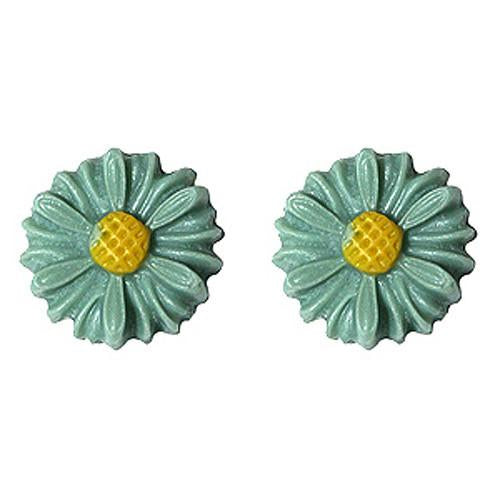 Dollydagger 1950's Style Daisy Flower Earrings Teal
