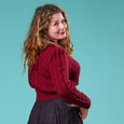 Emmy Design Burgundy Ice Skater Cable Knit Cardigan