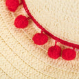 Floppy Hat with Red Pom Pom Trim Emma Dollydagger