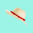 Floppy Sun Hat Red Pom Pom Trim Dollydagger