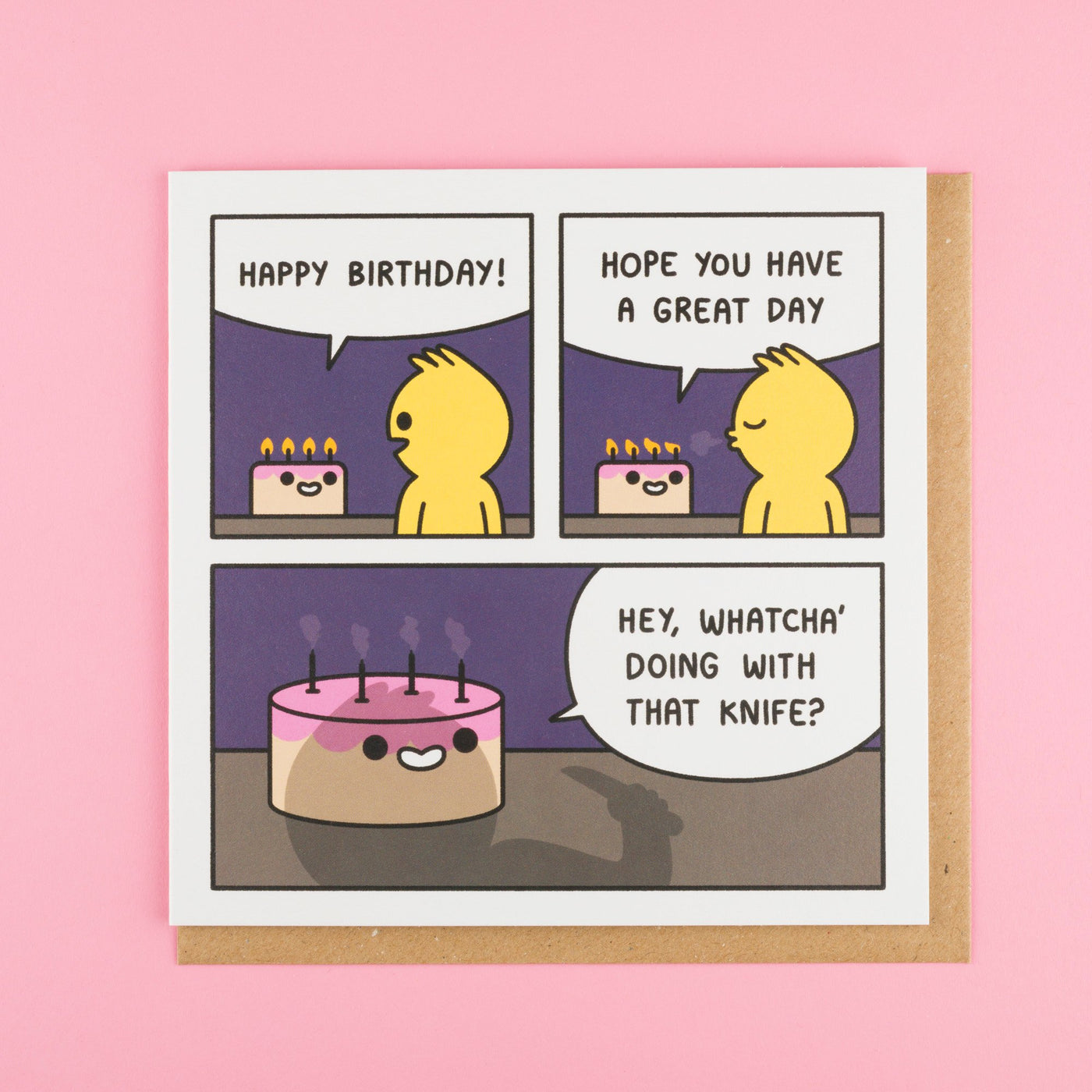 Whatcha' Doing with that Knife Funny Birthday Card