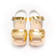Gold Peep Toe Clogs by Lotta from Stockholm at Dollydagger