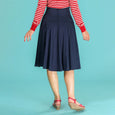 High Waist Swing Skirt Navy Swirly Sweetheart Emmy Design
