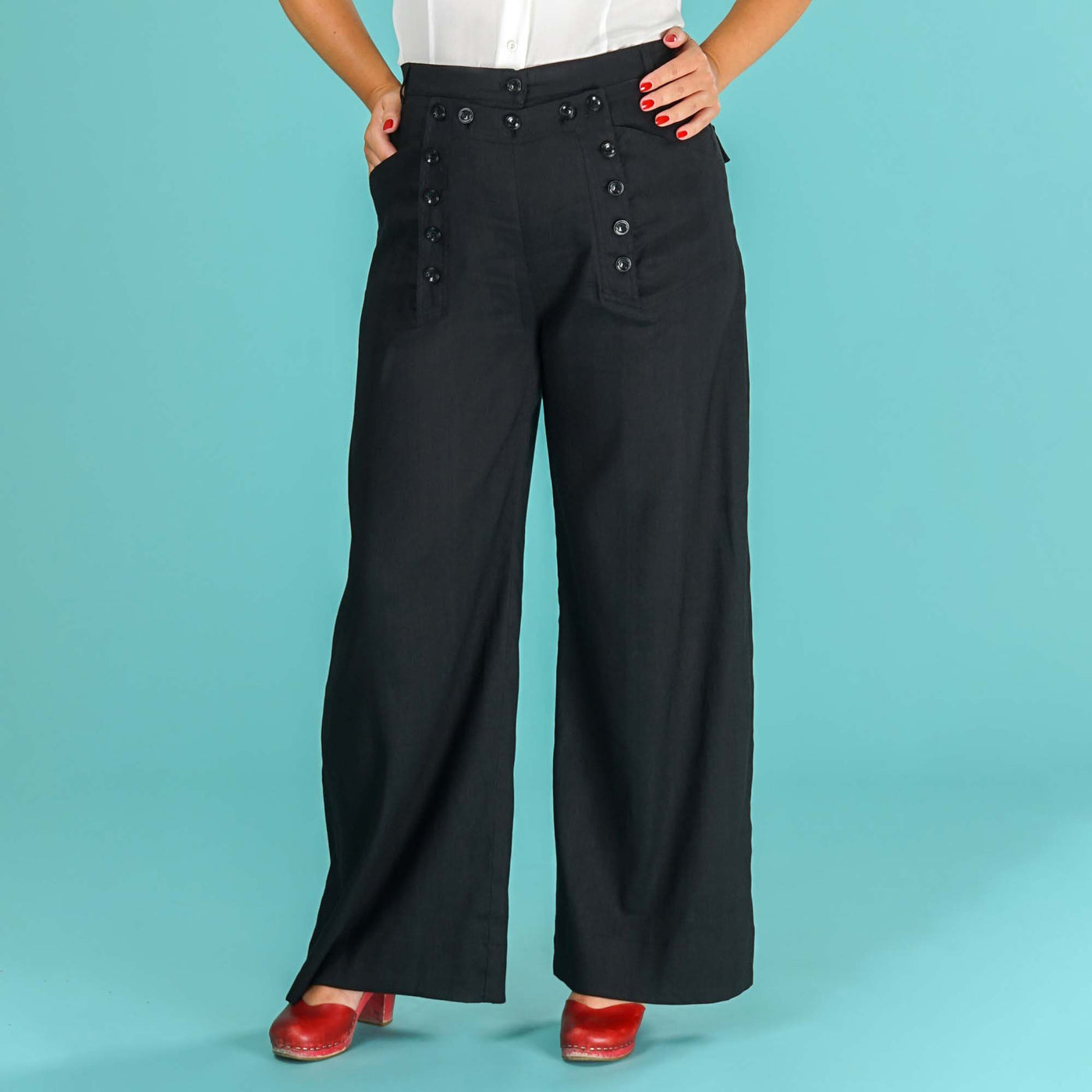 High Waisted Trousers Black Sailor Slacks Emmy Design