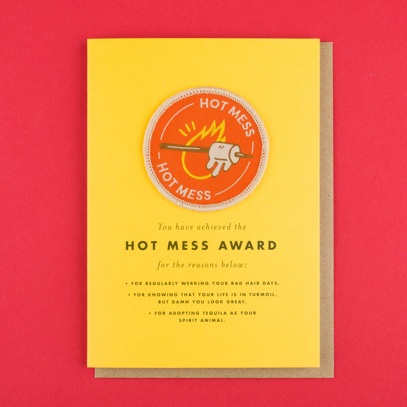 Iron on Patch Card 'Hot Mess' Award by Ohh Deer