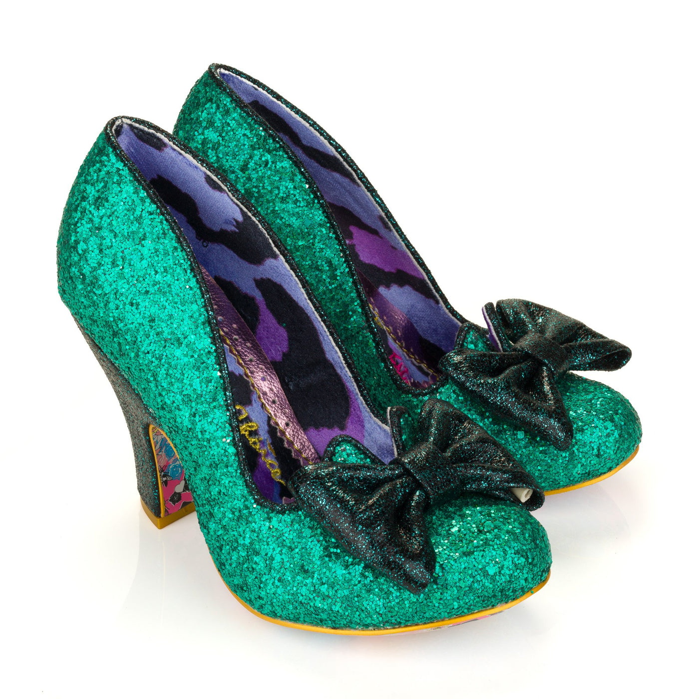 Irregular Choice Green Glitter Shoes Nick of Time