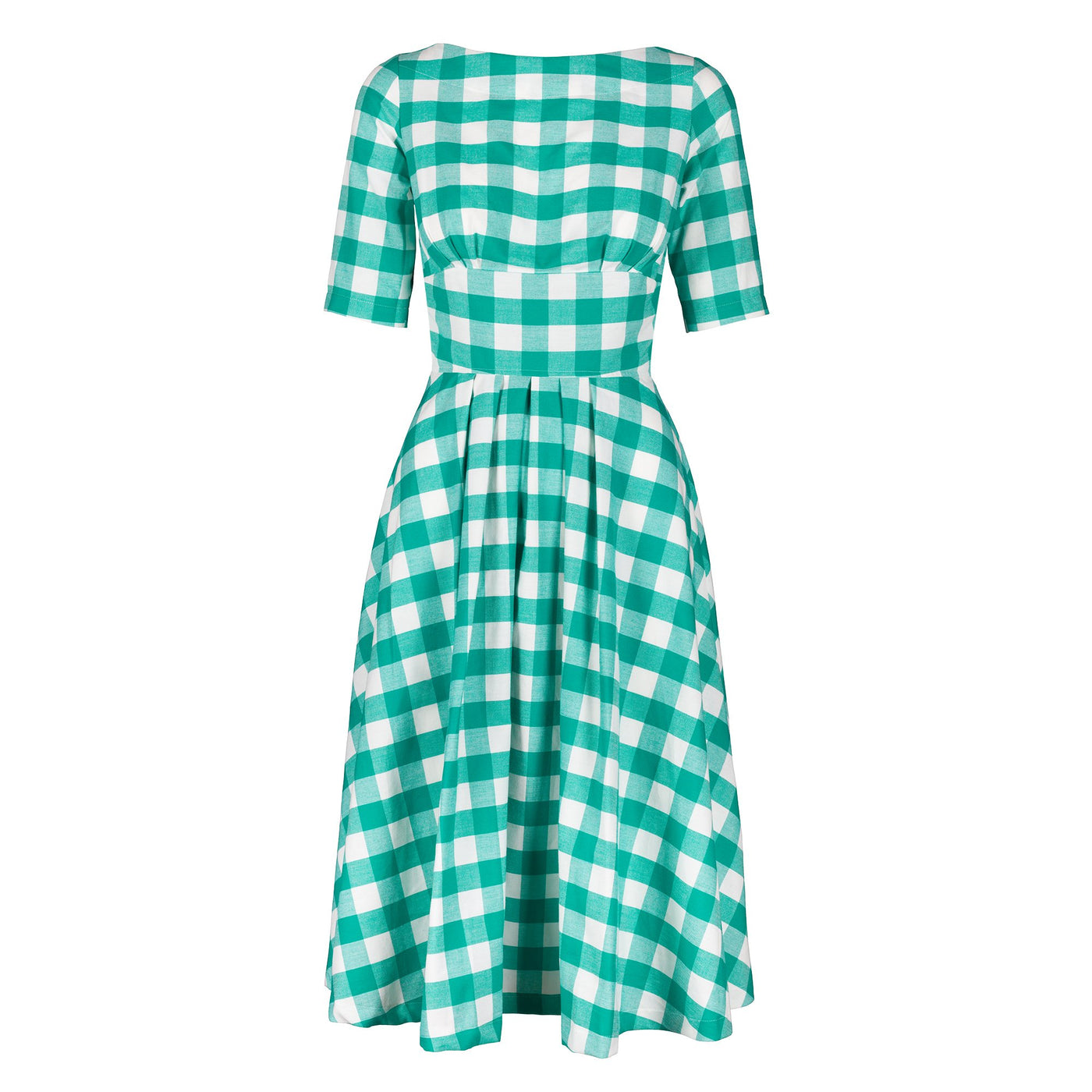 Katie Gingham Green Fit Flare Dress