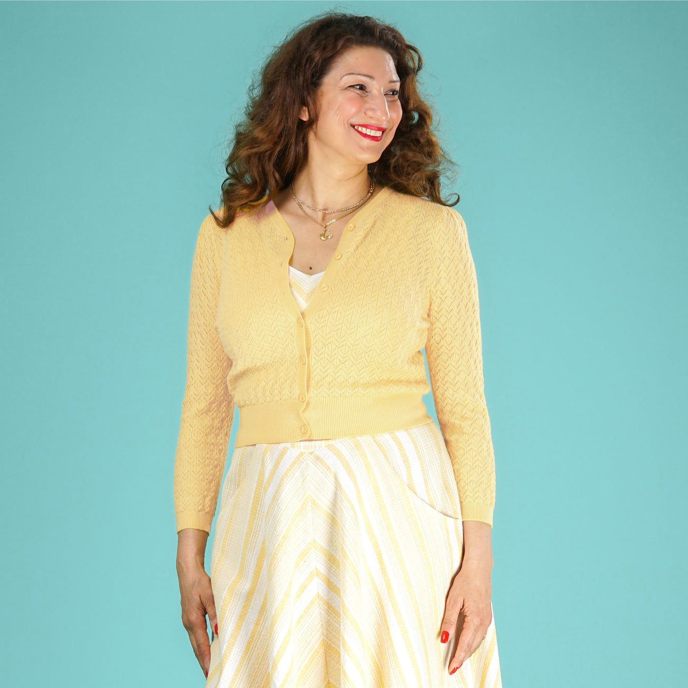 Lightweight Cardigan Yellow Delightful Daytime by Emmy