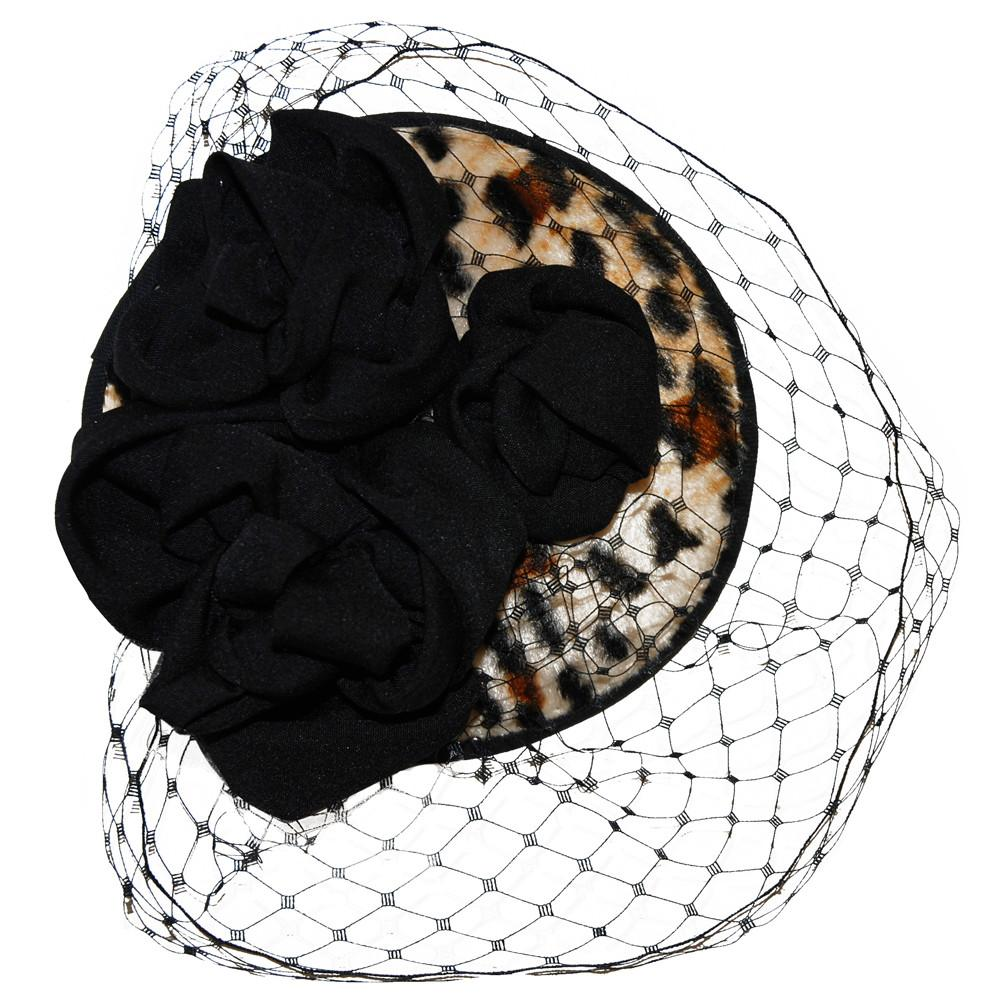 Lilly Millinery for Dollydagger 1950's Style Black Rose & Leopard Print Fascinator