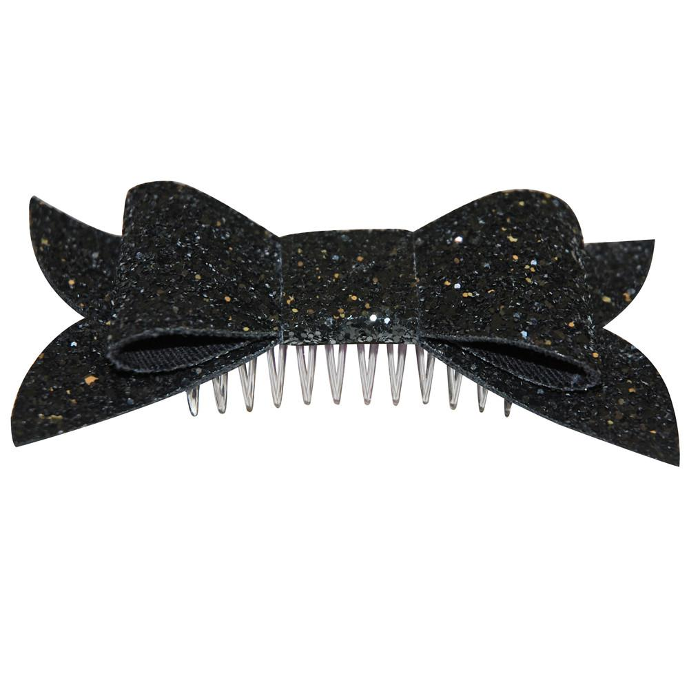 Dollydagger Black Super Glitter Bow Hair Slide