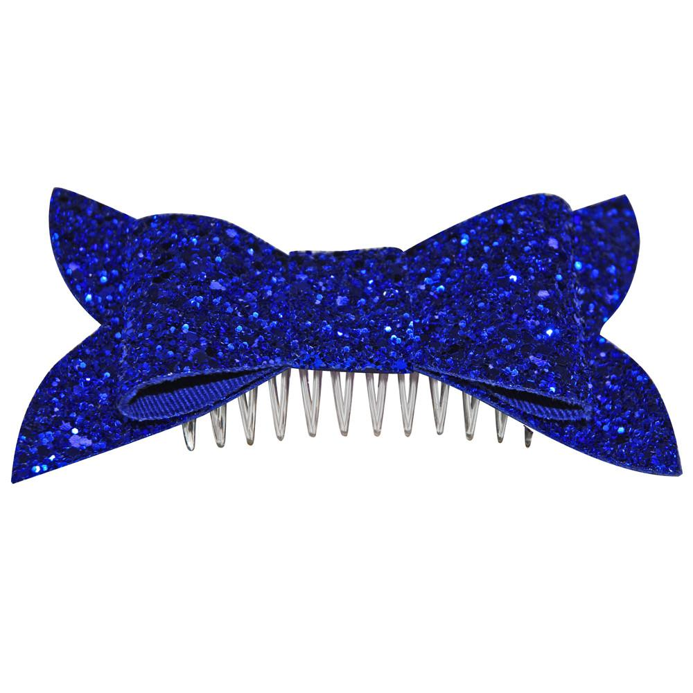 Dollydagger Royal Blue Retro Super Glitter Bow Hair Slide