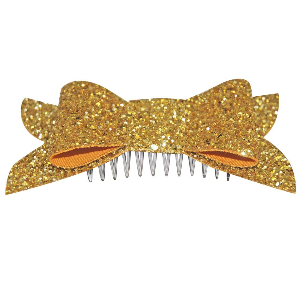 Dollydagger Gold Super Glitter Retro Bow Hair slide