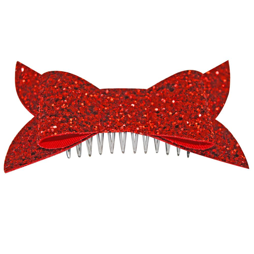 Dollydagger Red Super Glitter Retro Bow Hair Slide