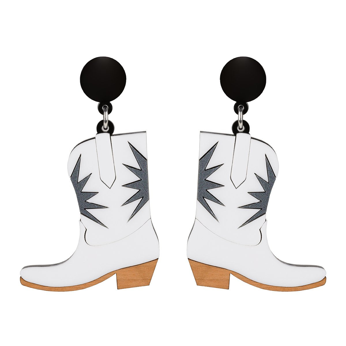 Lou Taylor White Cowgirl Boot Earrings