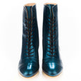 Metallic Teal Lace Up Boots Miss L Fire