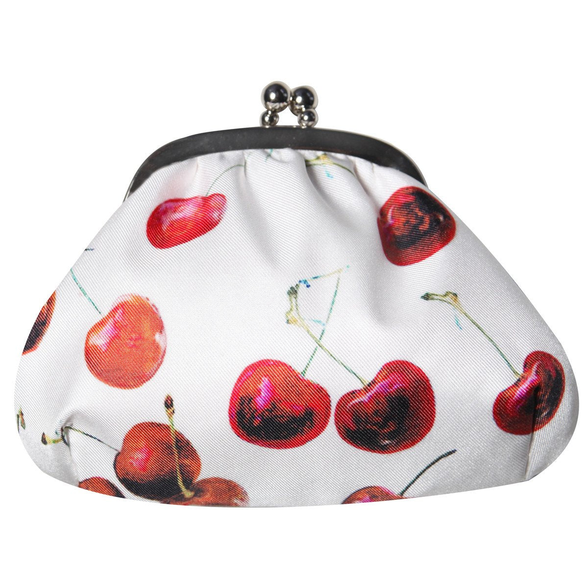 Red Cherry Print Silk Baby Betty Purse from Miss Budd