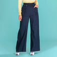 Navy Blue High Waist Wide Leg Trousers Emmy Design Sailor Slacks