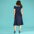 Navy Blue Nautical Dress Silver Screen Sailorette Emmy Design