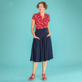 Navy Blue Swing Skirt Emmy Design Swirly Sweetheart