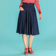 Navy Blue Swing Skirt High Waist Emmy Design Swirly Sweetheart