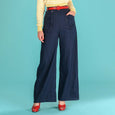 Navy Blue Wide Leg Trousers Emmy Design Ship Mate Slacks