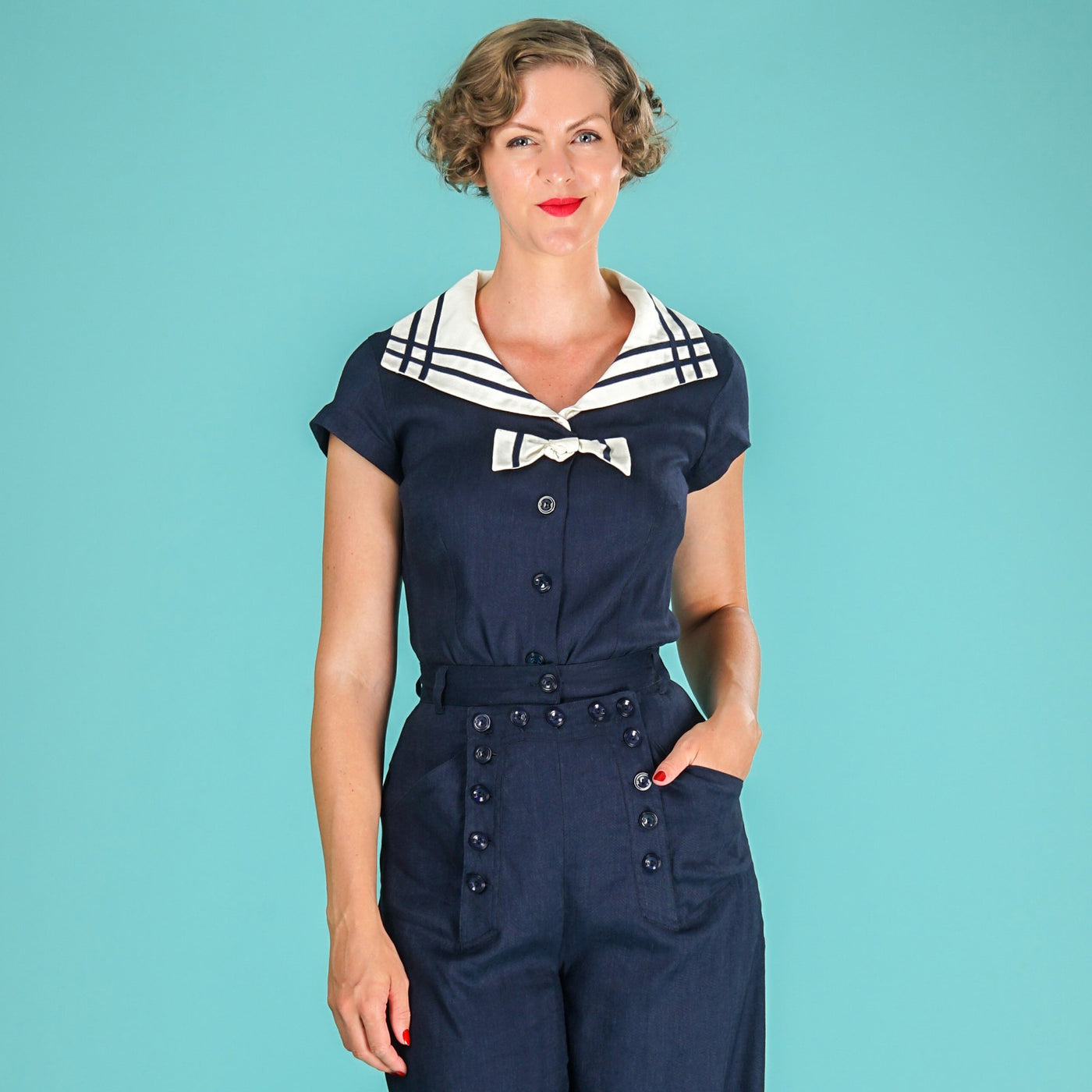 Navy Sailor Top Ship Shape by Emmy Design