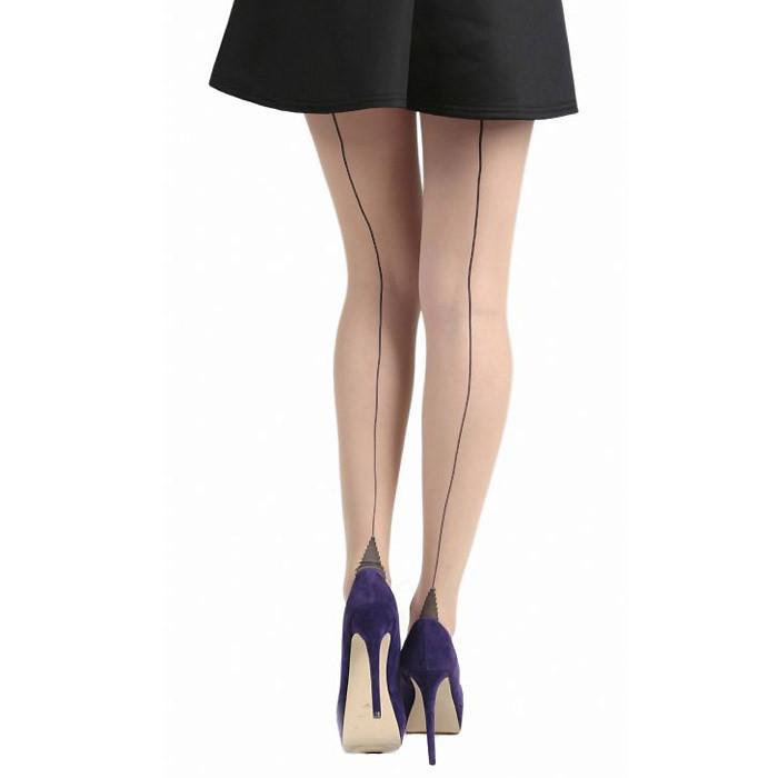 Pamela Mann Nude and Black Jive Seamed Tights