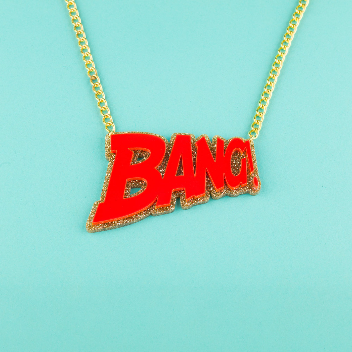 Perspex Bang Necklace Red and Gold