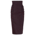 Polka Dot High Waisted Skirt Black and Red Dollydagger Dita