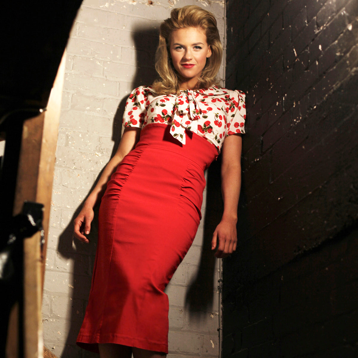 Red High Waist Pencil Skirt Dita Dollydagger