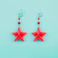 Red Nautical Star Earrings Classic Hardware