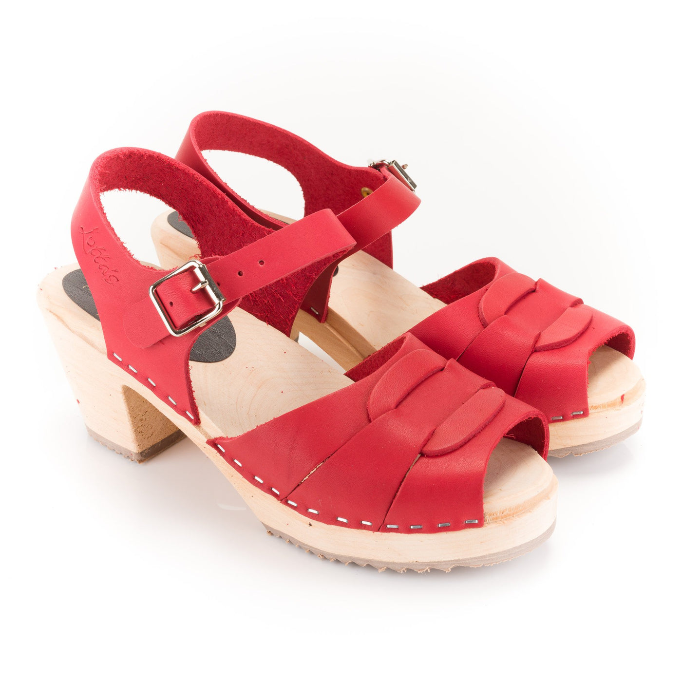 Red Peep Toe Clogs by Lotta from Stockholm at Dollydagger