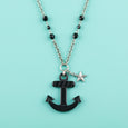 Retro Anchor Necklace Black Classic Hardware