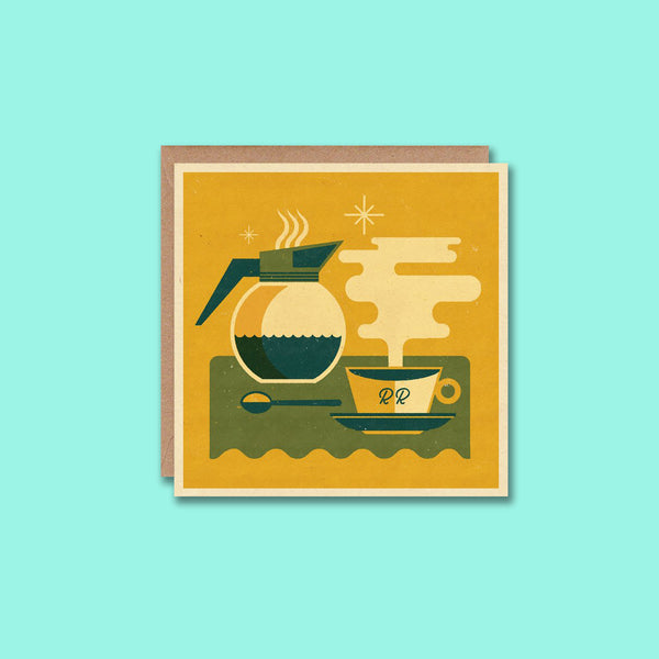 Retro Greetings Card Coffee Telegramme