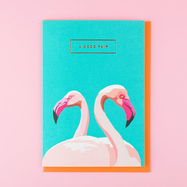 Retro Valentines Day Card Flamingos by Emily Brooks