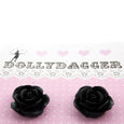 Rose Stud Earrings Black Dollydagger