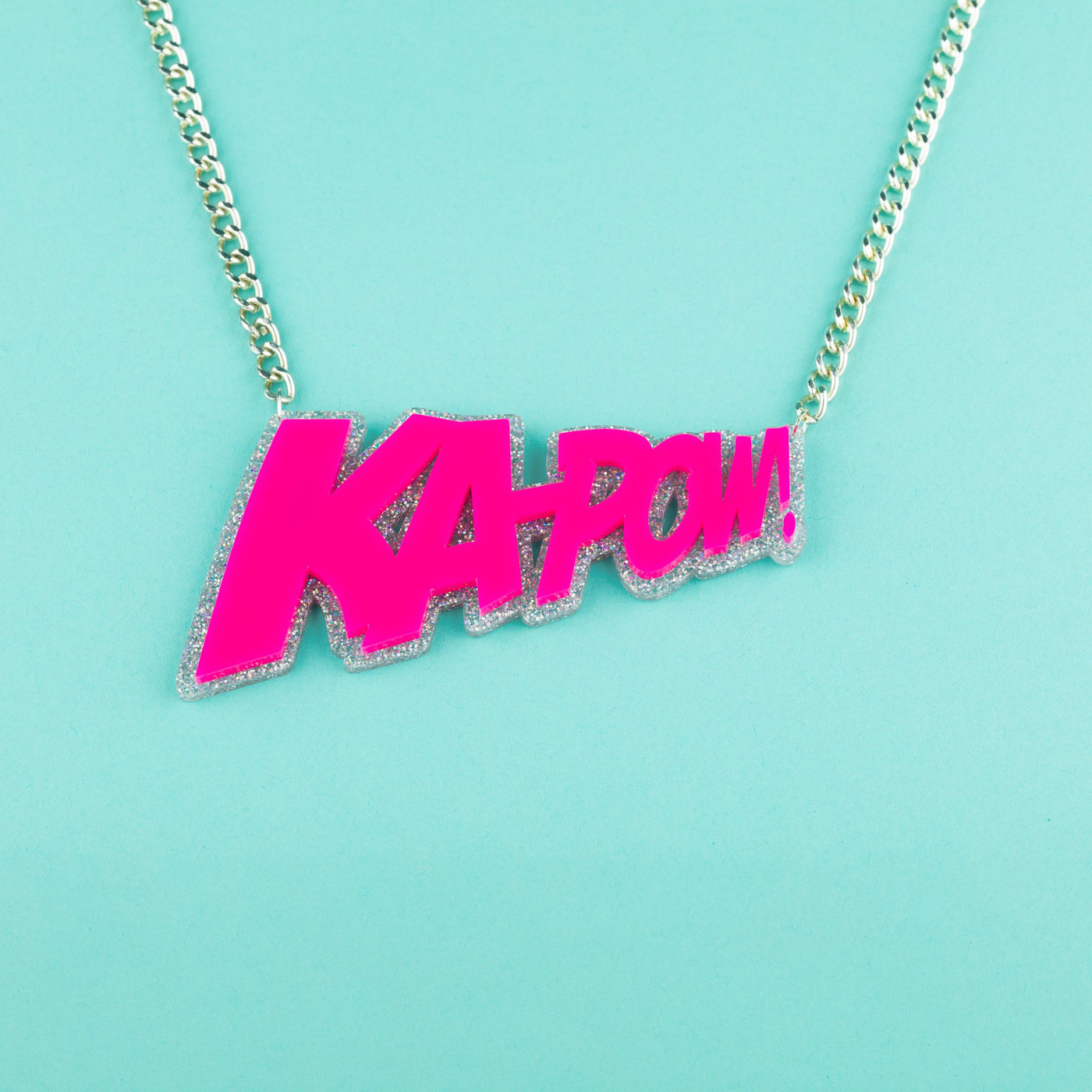 Slogan Necklace Ka-Pow! Pink and Silver