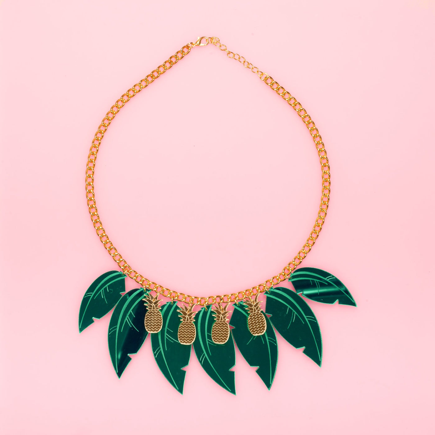 Statement Leaf Necklace Gold Green