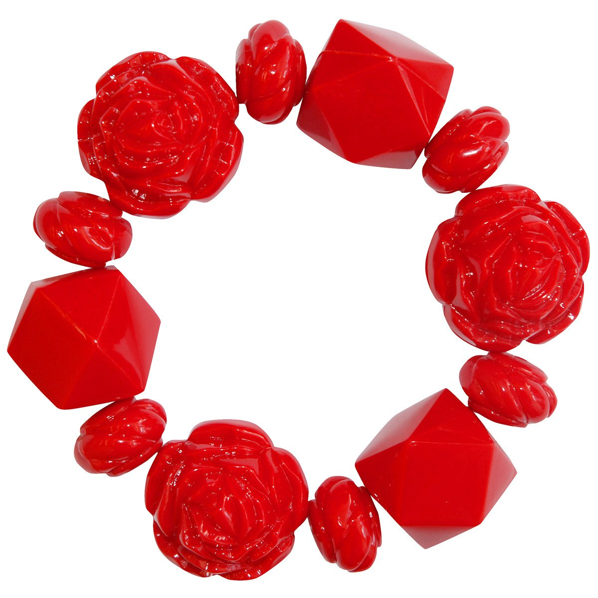 Tarina Tarantino Large Carved Rose Bracelet Red