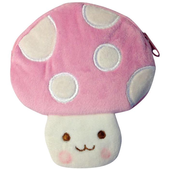 Toffee Apple Kawaii Mushroom Plush Purse Pink
