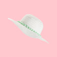 Juliet White Floppy Sun Hat with Mint Pom Pom Trim