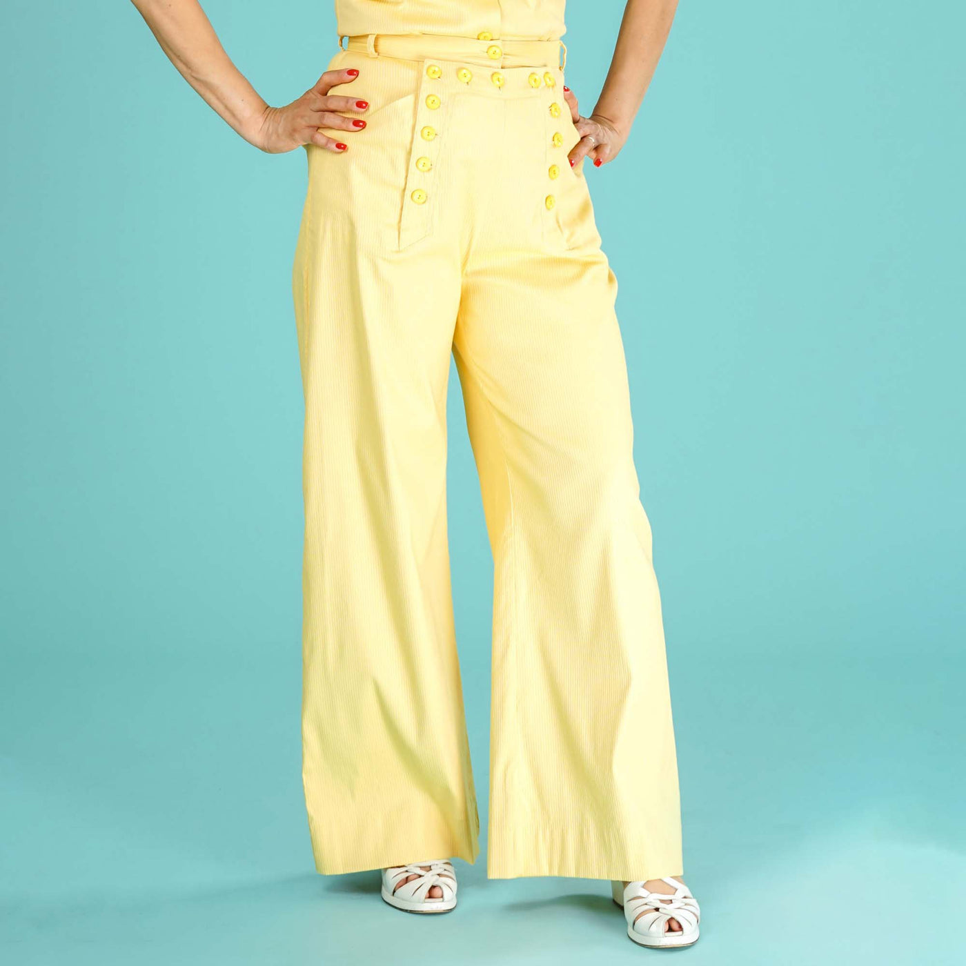 Yellow High Waisted Trousers Ship Mate Slacks Emmy Design