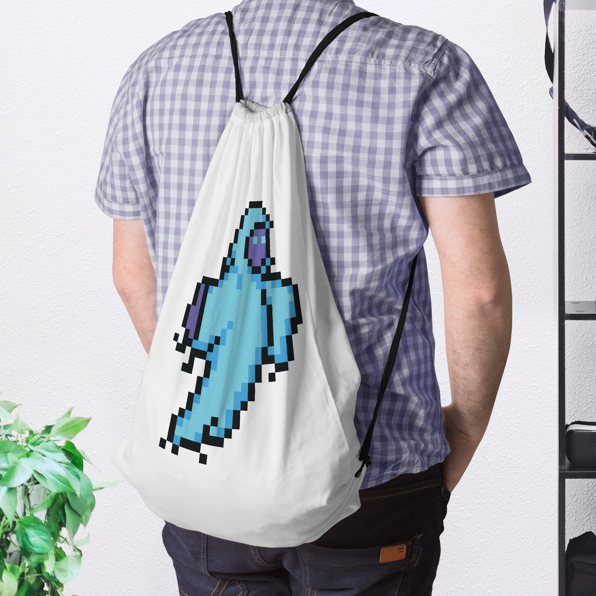 8-Bit Ghost Drawstring Bag - Space Lake
