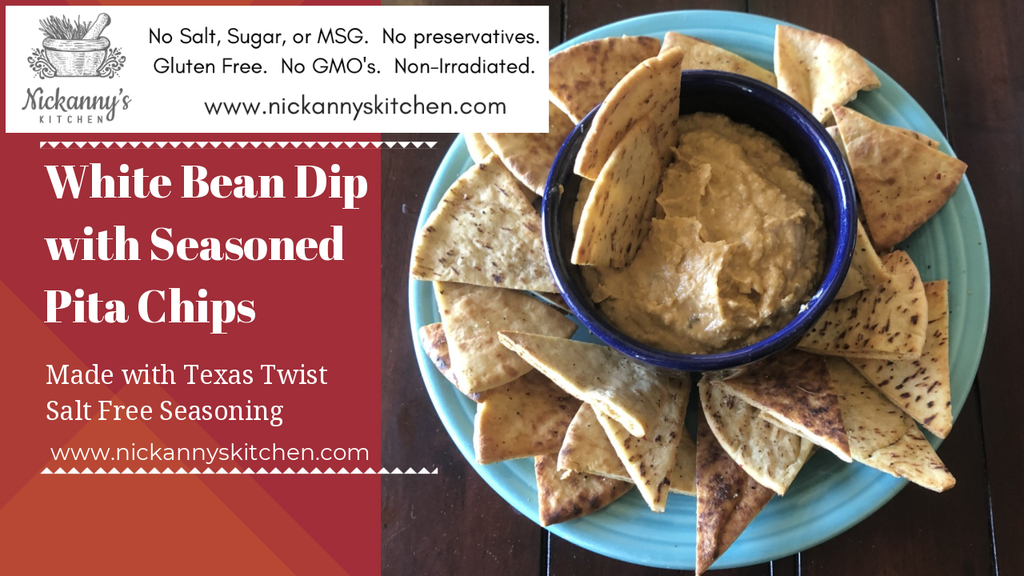 White Bean Dip with Seasoned Pita Chips Recipe For Texas Twist