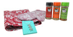 Hostess Gift Set - Matching Kitchen Apron and Silicone Mitt in Red Damask, 3 Nickanny's Kitchen Spices and Sterling Silver Starfish Pendant Necklace with Gift Bag and Tissue Paper