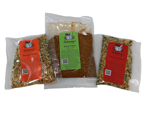 Sample Pack Set of Texas Twist, Toasted Onion and Garlic and More with Recipes