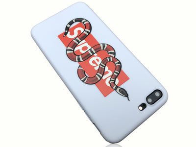 iPhone 7/8 PLUS+ Case - GG Snake Supreme Embossed Silicone Design (WHITE)